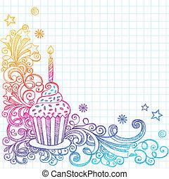 doodle, sketchy, fødselsdag, cupcake