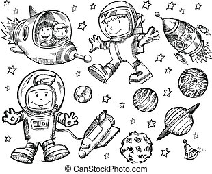 doodle, skitse, vektor, ydre space