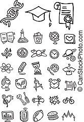 doodle, skole, læreanstalt, iconerne
