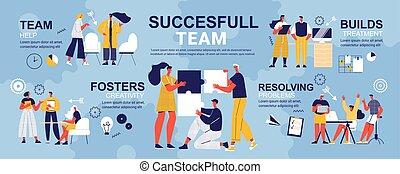 doodle, succesrige, infographics, hold
