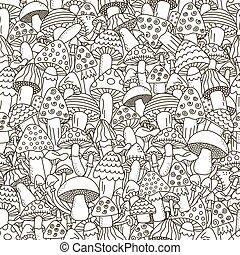 doodle, svampe, sort, hvid baggrund, seamless, pattern.