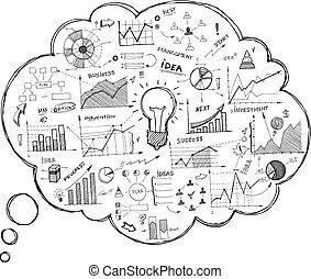 doodle, tale boble, ikon, infographics