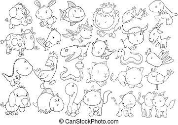 doodle, vektor, sæt, dyr