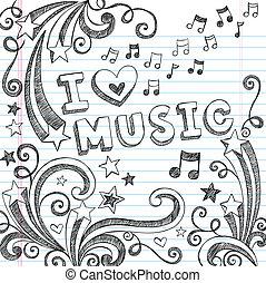 doodles, notere, vektor, musik, sketchy