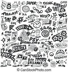 doodles, sæt, -, psykologi