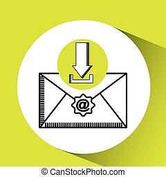download, kommunikation, meddelelse, begreb, email