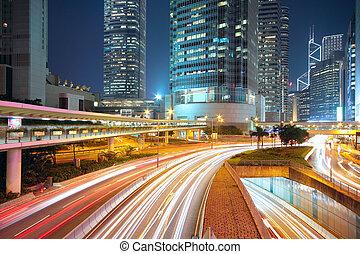 downtown, nat, trafik, område