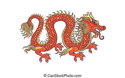 drage, illustration, isoleret, traditionelle, gylden, cartoon, vektor, rød, kinesisk