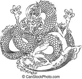 drage, japansk, illustration