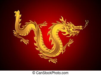 dragon., illustration, kinesisk