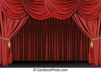 drapere, teater, baggrund, phasen