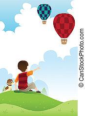 dreng, balloner, hund, iagttag