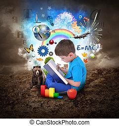 dreng, bog, undervisning, læsning, emne