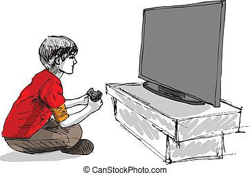 dreng, boldspil, computer, spille