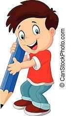 dreng, cartoon, blyant