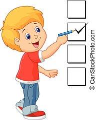 dreng, cartoon, checklist