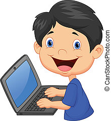 dreng, cartoon, laptop