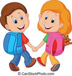 dreng, cartoon, pige, backpacks