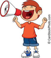 dreng, cartoon, råb, råbe