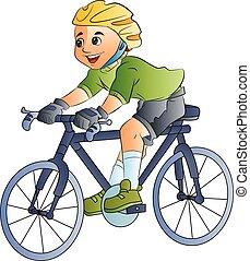 dreng, cykel, illustration, ride