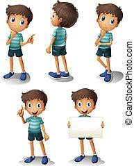 dreng, forskellige, unge, positioner