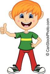 dreng, giver, tommelfingre oppe, cartoon