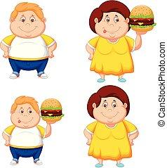 dreng, hamburger, stor, tyk, pige, cartoon