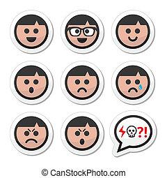 dreng, iconerne, mand, vektor, avatar, ansigter