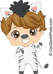 dreng, illustration, dyr, zebra, barnet, kostume, safari