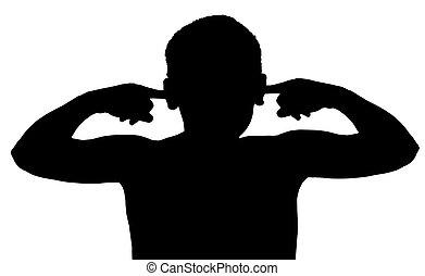 dreng, isoleret, lytte, barn, ikke, gestus