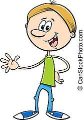 dreng, karakter, cartoon, illustration