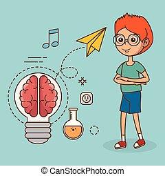 dreng, kreative, ide, stor, iconerne