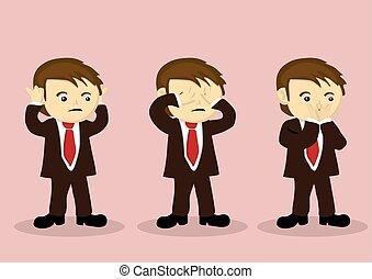 dreng, nej, karakter, onde, se, vektor, afhøre, cartoon, tal