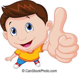 dreng, oppe, cartoon, tommelfinger