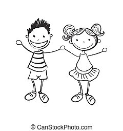 dreng, pige, stram, illustration, hånd
