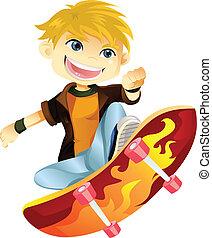 dreng, skateboarding