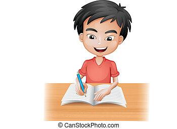 dreng, smil, skrift
