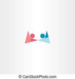 dreng, symbol, hånd ind hånd, logo, pige, abstrakt