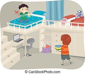 drenge, stickman, loft, soveværelse