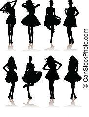 dress., adskillige, model, illustration, sæt, piger, vektor, dame, smukke