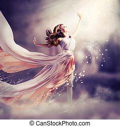 dress., pige, slide, chiffon, fantasien, scene, længe, smukke