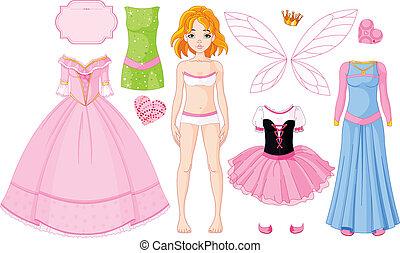 dresse, pige, forskellige, prinsesse