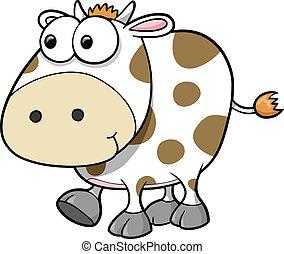 dumme, vektor, ko, dyr