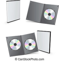 dvd, bokse, vektor, 3