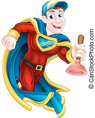 dykkerstempel, superhero, mand