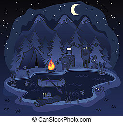dyr, camping, nat