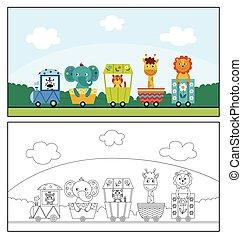 dyr, colorless, cartoon, farverig, tog, elefant, zebra, -, cute, løve, form