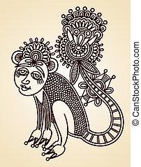 dyr, doodle, formgiv element