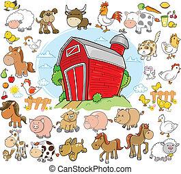 dyr farm, sæt formgiv, vektor
