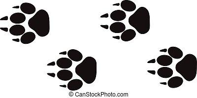 dyr, foranstaltninger, vector., tracks, fod, konstruktion, isoleret, naturliv, hvid, spor, printer, begreb